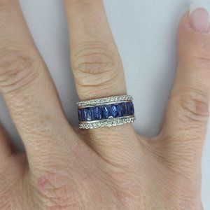 925 Sterling Silver Blue Crystal Ring Size 8